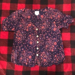 Anthro Maeve Floral Boho Button Down Blouse